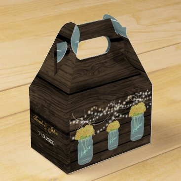 yellow flowers mason jar wedding favor box