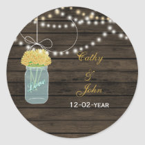 yellow flowers mason jar wedding favor stickers
