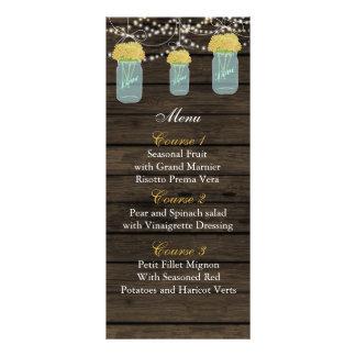 yellow flowers mason jar wedding menu cards
