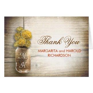 Yellow flowers mason jar wedding thank you cards