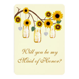 Yellow Flowers Mason Jars Maid Of Honor Card Invites