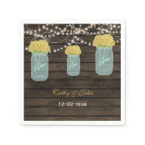 yellow flowers masonjar wedding napkin