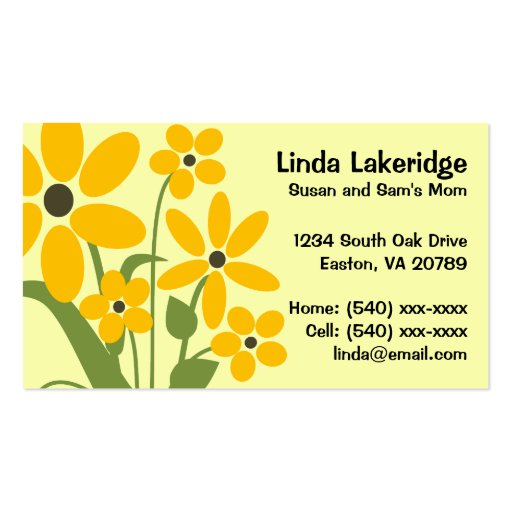Yellow Flowers Mommy Contact  Info Card Business Cards