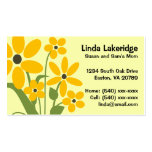 Yellow Flowers Mommy Contact  Info Card Double-Sided Standard Business Cards (Pack Of 100)
