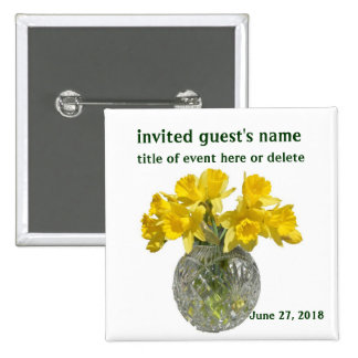 Yellow Flowers Name Tag Pinback Button