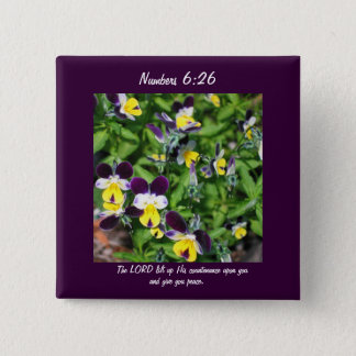 Yellow Flowers Numbers 6:26 Bible Scripture Peace Pinback Button