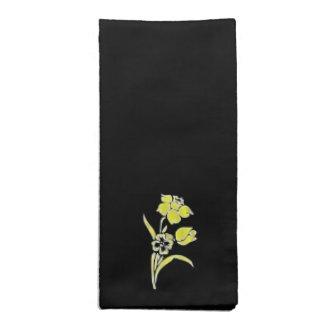 Yellow Flowers on Black Cloth Napkins