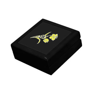 Yellow Flowers on Black Gift Box