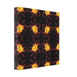 Yellow Flowers on Black Pattern Canvas Print
