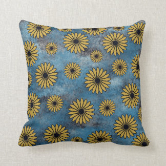 Yellow Flowers on Blue American MoJo Pillows