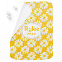 Yellow Flowers on Glitter Yellow Background Swaddle Blanket