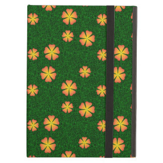 Yellow flowers on green background iPad air cover