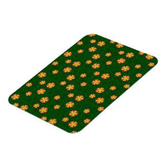 Yellow flowers on green background rectangular magnet