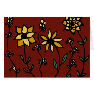 Yellow Flowers on Red Card