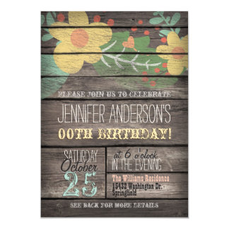 Yellow Flowers on Rustic Adult Teen Birthday 5x7 Paper Invitation Card
