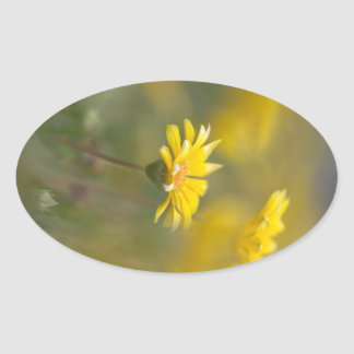 Yellow Flowers Oval Sticker
