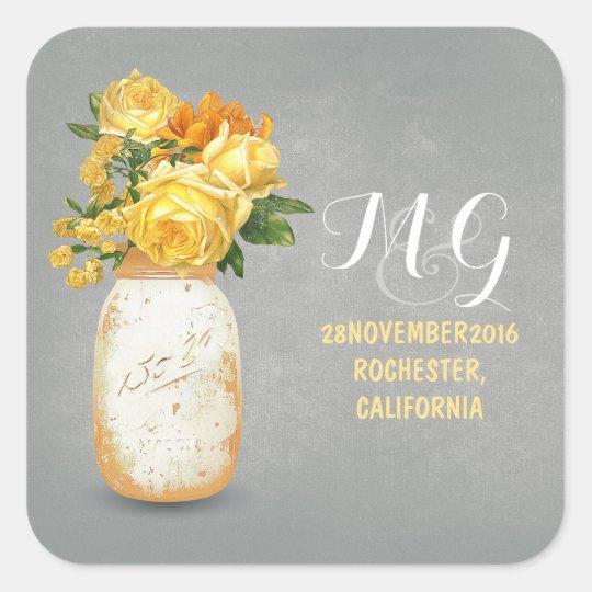 Yellow Flowers Painted Mason Jar Wedding Stickers
