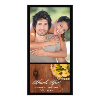 Yellow Flowers Pearls Barn Wood Country Thank You Card