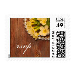 Yellow Flowers & Pearls Country Wedding RSVP Stamp