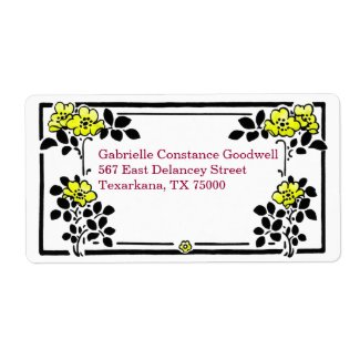 Yellow Flowers Personalized Mailing Labels