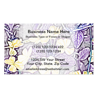 yellow flowers purple leaves sketch business card