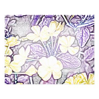 yellow flowers purple leaves sketch letterhead
