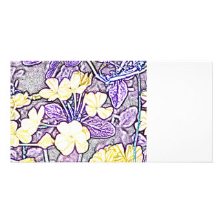 yellow flowers purple leaves sketch photo card