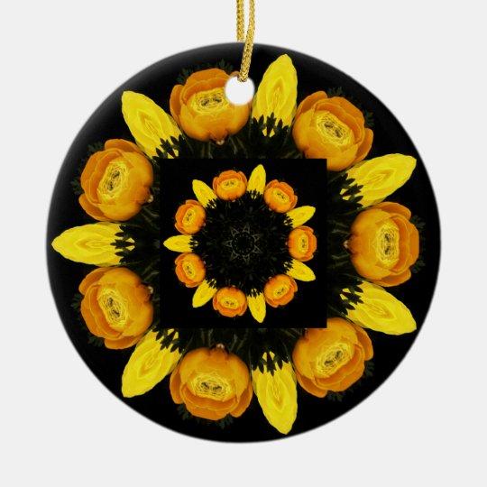 yellow flowers rosace ceramic ornament