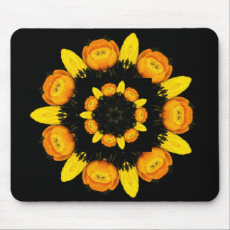 yellow flowers rosace mouse pad