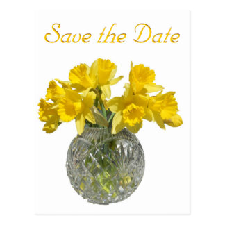 Yellow Flowers Save the Date Postcard