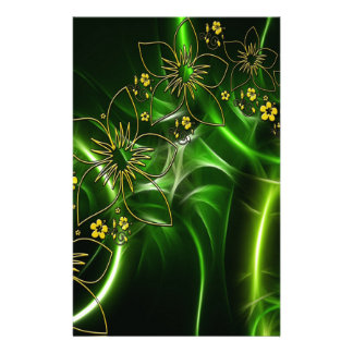 Yellow flowers shimmering green fractals stationery