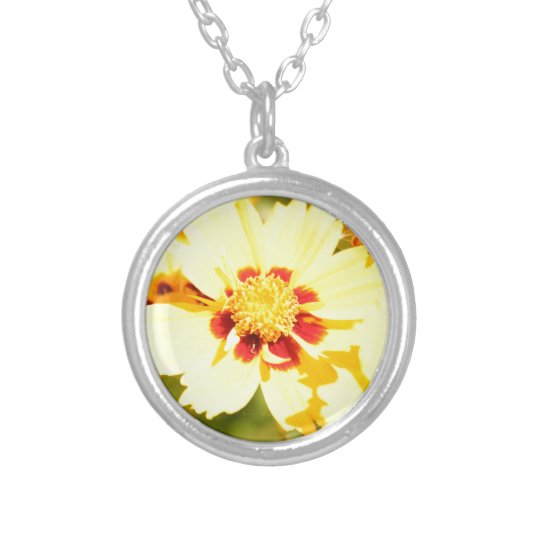 Yellow Flowers Silver Plated Necklace