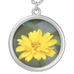 Yellow Flowers Sterling Silver Necklace