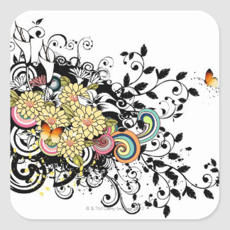 Yellow Flowers Square Sticker