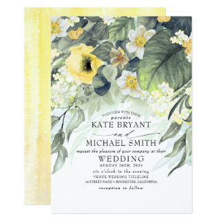 Yellow Flowers Summer Garden Romantic Wedding Invitation