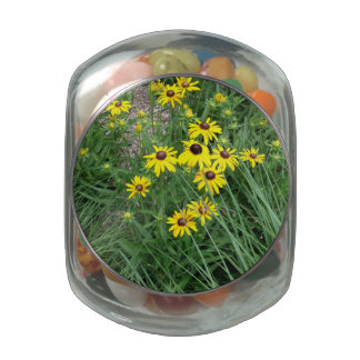 Yellow Flowers Surrounded By Grass Glass Jars