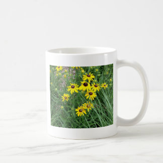 Yellow Flowers Surrounded By Grass Classic White Coffee Mug