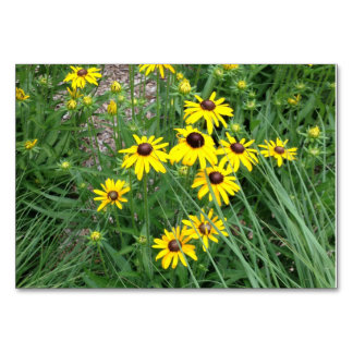 Yellow Flowers Surrounded By Grass Table Cards