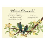 Yellow Flowers Teal Vintage Birds We Have Moved! Postcard