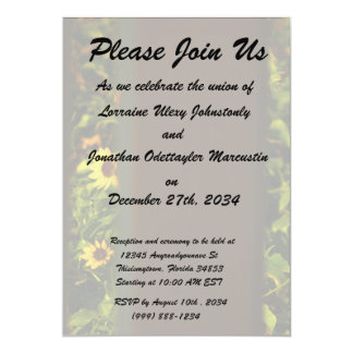 """Yellow flowers through wide brown fence 5"""" x 7"""" invitation card"""