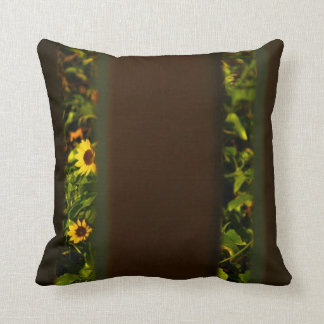 Yellow flowers through wide brown fence throw pillow