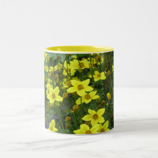 yellow flowers Two-Tone coffee mug
