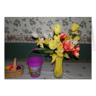 Yellow Flowers Vase & Easter Decorations Stationery Note Card
