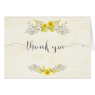 Yellow Flowers Watercolor Thank You Card