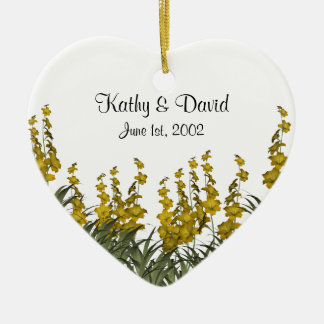 Yellow Flowers Wedding Ceramic Ornament