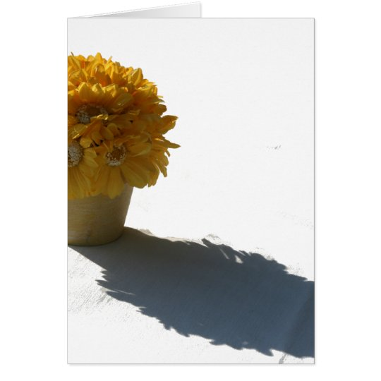 Yellow Flowers White Bucket and Shadow Card
