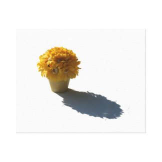 Yellow Flowers White Bucket and Shadow Cutout Canvas Print
