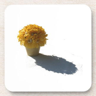 Yellow Flowers White Bucket and Shadow Cutout Drink Coasters