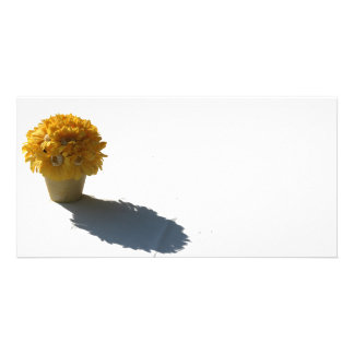 Yellow Flowers White Bucket and Shadow Custom Photo Card