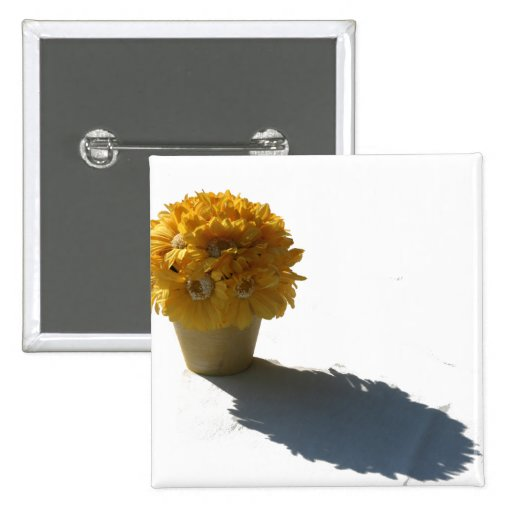 Yellow Flowers White Bucket and Shadow Pin